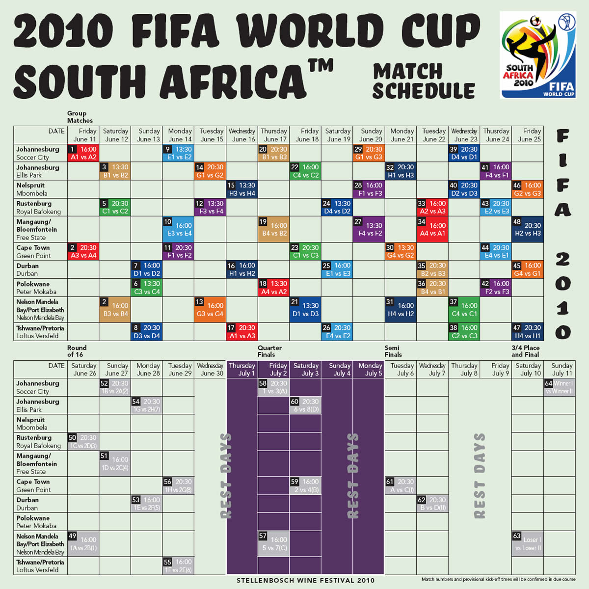 South africa 2010 world cup soccer 2010 fifa world cup match schedule