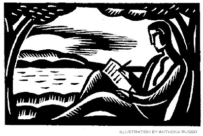 Graphic: Relaxed writing by the seaside.