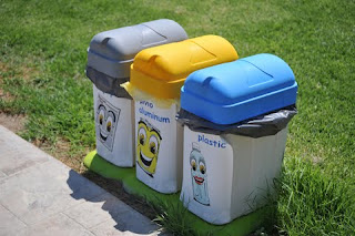 Photo: Three garbage bins neatly arranged for sorting rubbish
