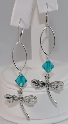 Sterling Silver Signature Dragonfly Earrings - Blue Zircon Swarovski Rock Candy Miami