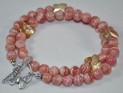 Rhodochrosite Stone - Faithful Fish Bracelet