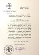AGRADECIMIENTO DE LA HERMANDAD DE SAN ANTONIO