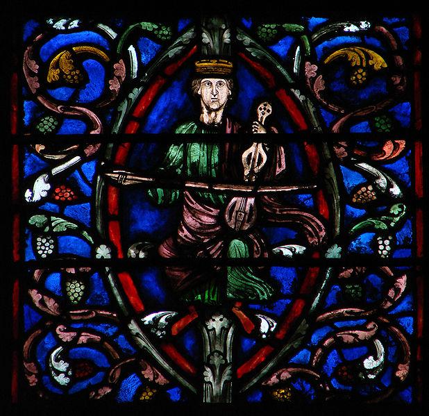 El rei David, detall del vitrall dedicat a l'Arbre de Jesé a la catedral de Troyes (segle XIII). title=