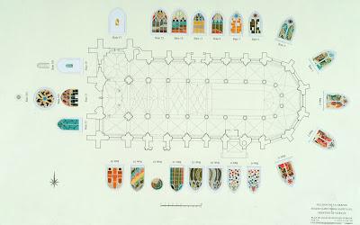 Plànol i distribució dels vitralls de l'Església de Sant Pere i Sant Pau, de Villenauxe la Grande.