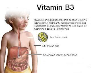niasin (vitamin B3) bekerjasama dengan vitamin B lainnya untuk membantu melepaskan energi dari karbohidrat