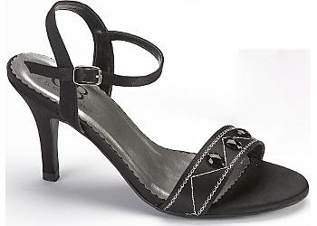 Ankle strap with a buckle closure and jewels across front