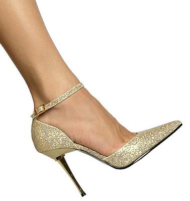 Sexy gold glitter high heels