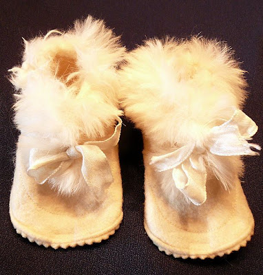 Vintage Felt and Furry Baby or Doll Shoes