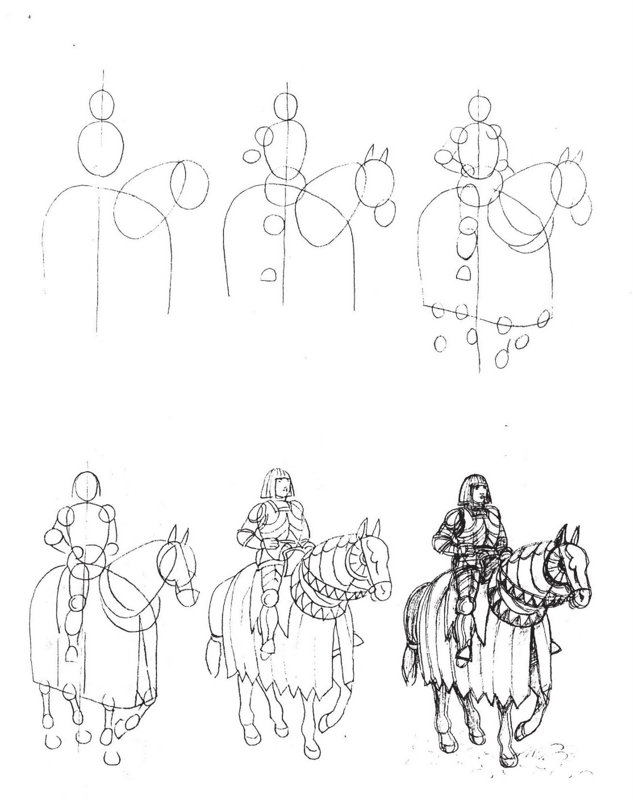 How To Draw Knight With Horse Jpg 1266x1600 Horse Armor With Knight Drawings