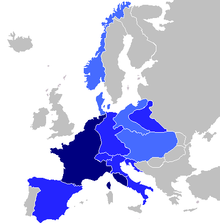 The extent of the French empire under Napoleon.