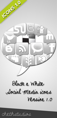Black n white- Social Media Icons Version 1.0
