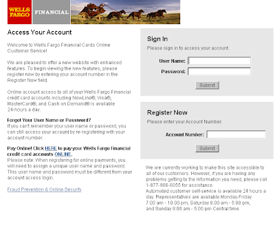 WellsFargoFinancialCards.com Account Login info