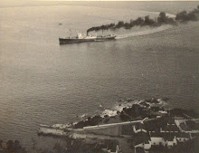 Old picture of a boat arriving Calheta