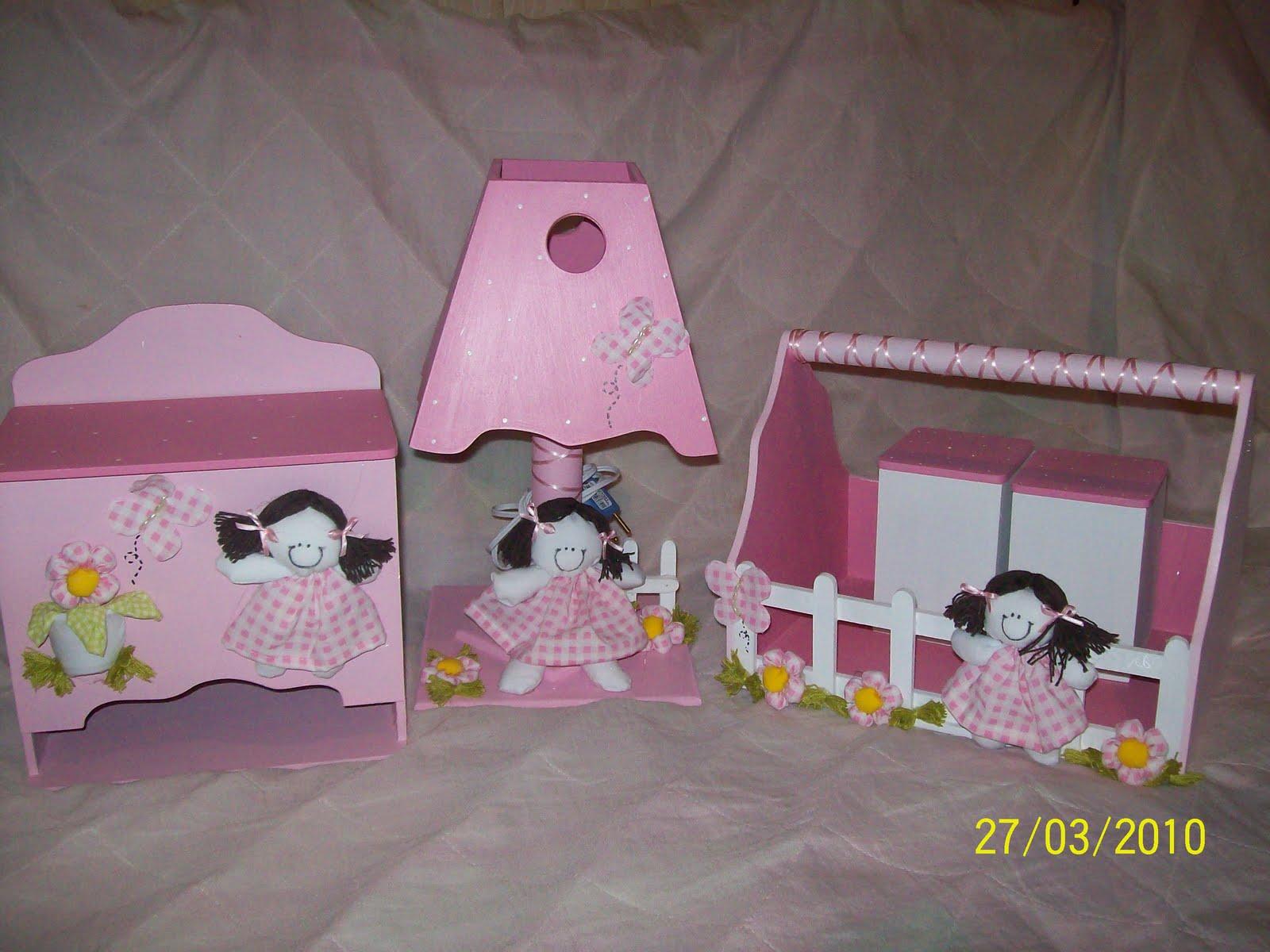 Lulita Acessórios para Quarto de Bebê KIT PORTA FRALDAS, ABAJUR E FARMACINHA