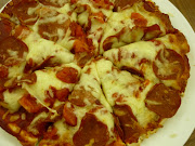 Beef Pepperoni Pizza and Chicken Mushroom Pizza
