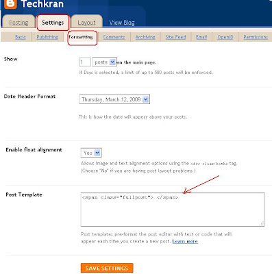 How to add Span tags in settings Blogger