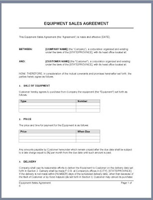 Business Sales Agreement Template - Simple business agreement template