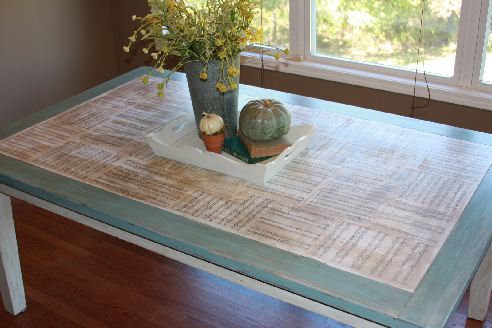Remodelaholic | Kitchen Table Redo With Sheet Music