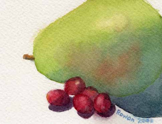 green pear with cranberries watercolor