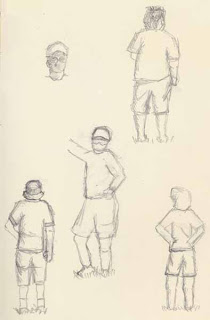 graphite sketches of people at soccer game