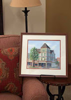watercolor painting of building Center Square Easton PA