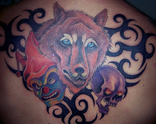 clown wolf skull tribal tattoo