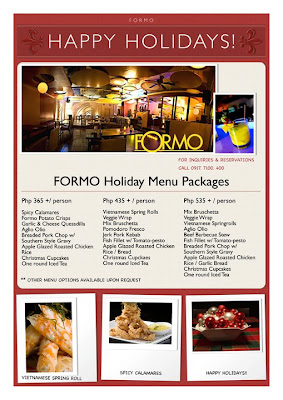FORMO Holiday Menu Packages