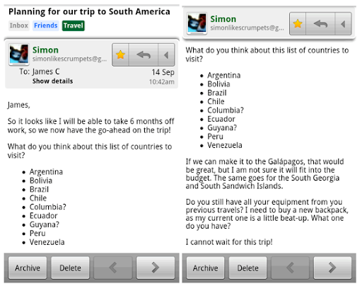 Nova verzija Gmail aplikacije u Android Market