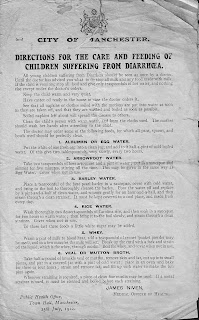 1912, Public health office, Diarrhoea, Manchester, advice