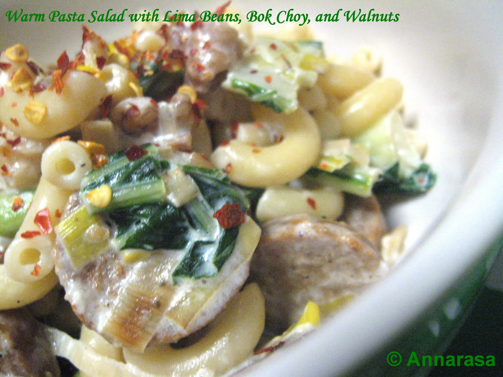 Annarasa essence of food warm pasta salad with lima beans bok make a warm pasta salad of course they are just as delectable comforting and delicious i made mine with warm macaroni oven grilled soysage soya forumfinder Images