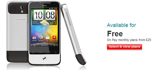 pre order htc legend with free price on vodafone uk