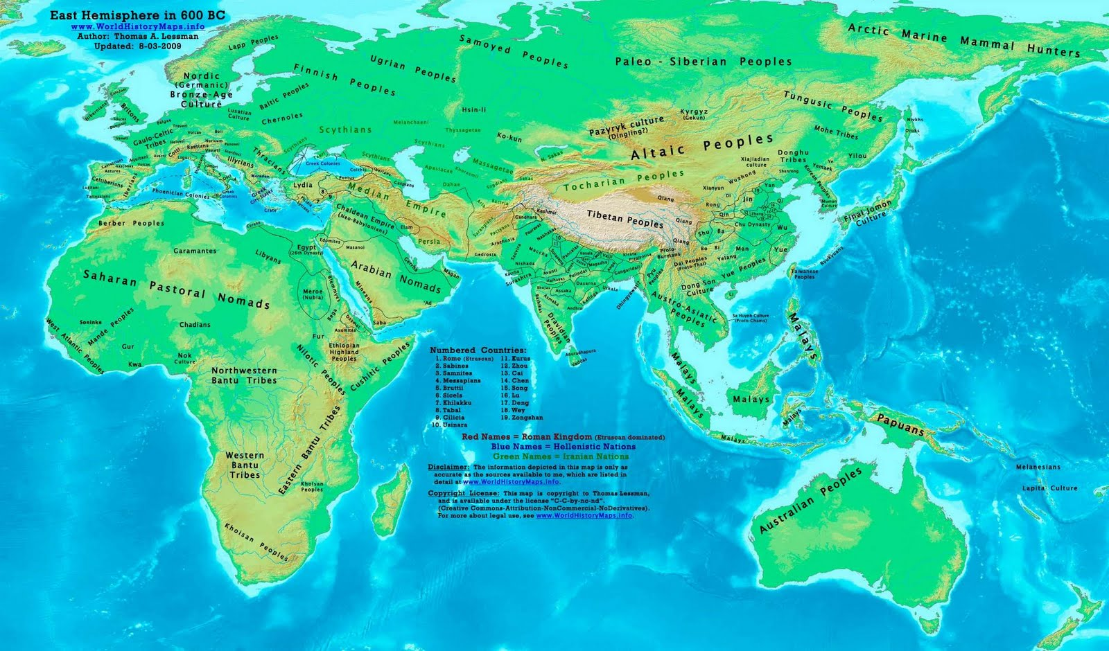 Historical maps: East Hemisphere Historical Map In 600 BC