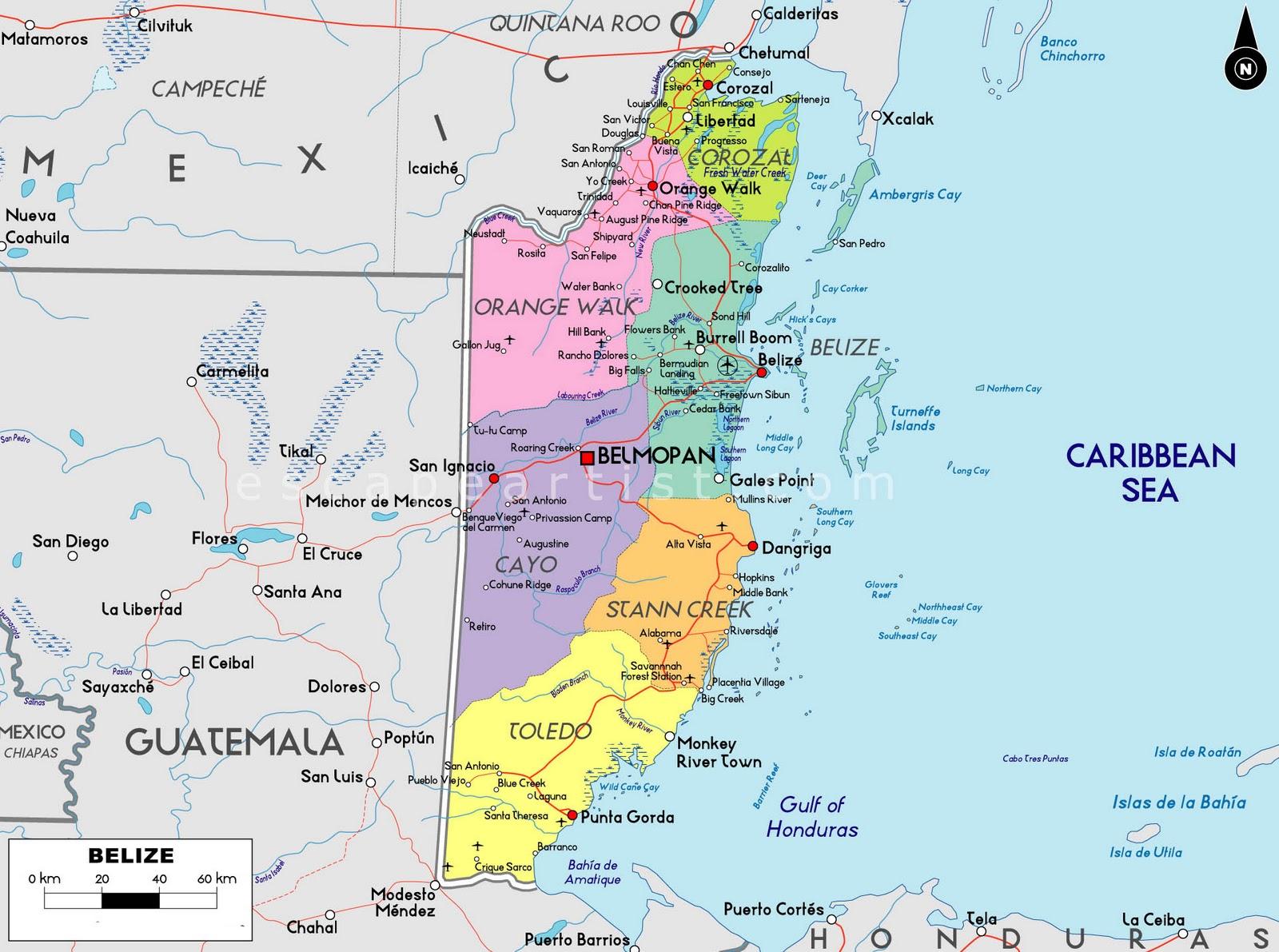 Belize Yucatan Map - Belize map belmopan