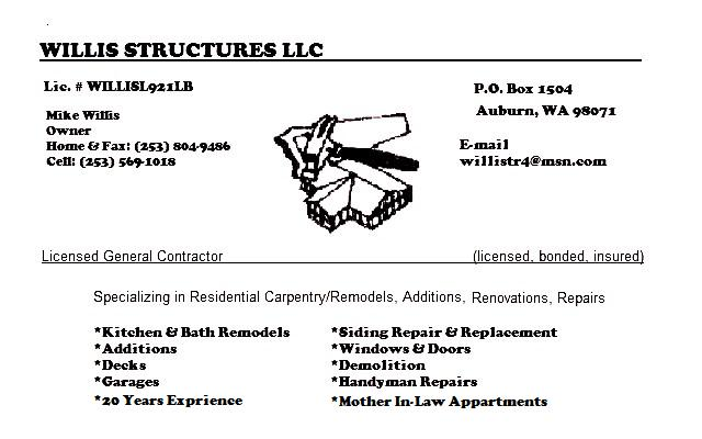 WILLIS STRUCTURES LLC