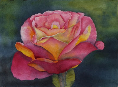 Steve Penberthy - Watercolor Painting of a Yellow Rose - Version 1 of 2