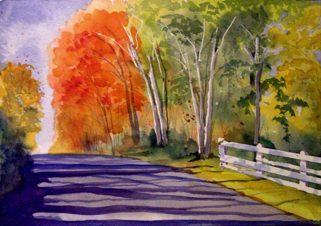 "Watercolor Landscape - ""Defiance Road"""