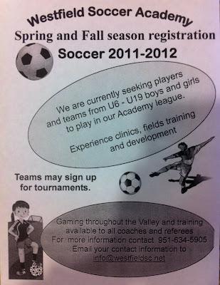 menifee westfield soccer registration