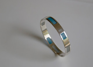 Jane Gallagher: Resin window bangle (blues)