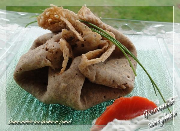 Aumoniêre de sarrasin au saumon fumé