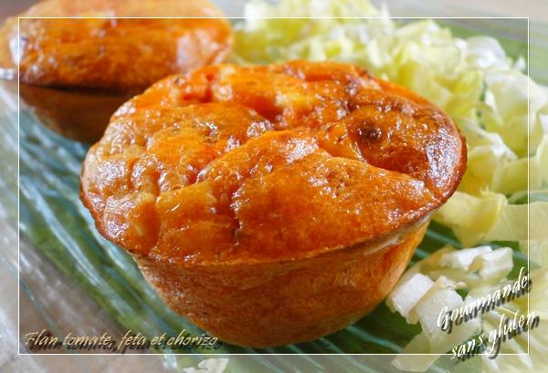 Flan à la tomate, feta et chorizo