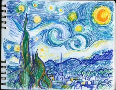 how to draw starry night with colored pencils
