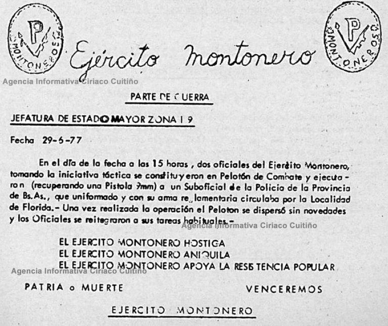 Falleció Jorge Rafaél Videla Ej%C3%83%C2%A9rcito+Montonero+-+Parte+de+Guerra+1977