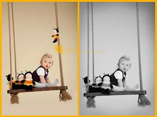 Fotod kiigel beebitüdrukust koos mesilastega. Fotostuudio  Fotopesa Tallinnas