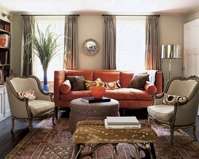 Acquired objects orange crush for Orange sofa living room ideas