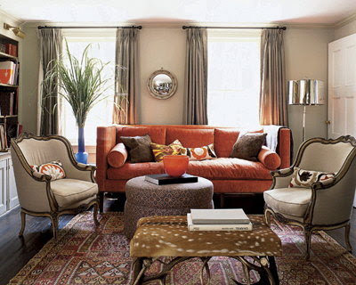 Acquired objects orange crush for Orange sofa living room ideas