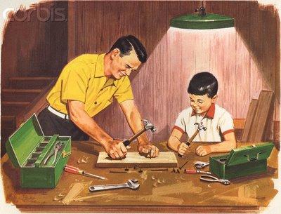 Pai e filho na carpintaria