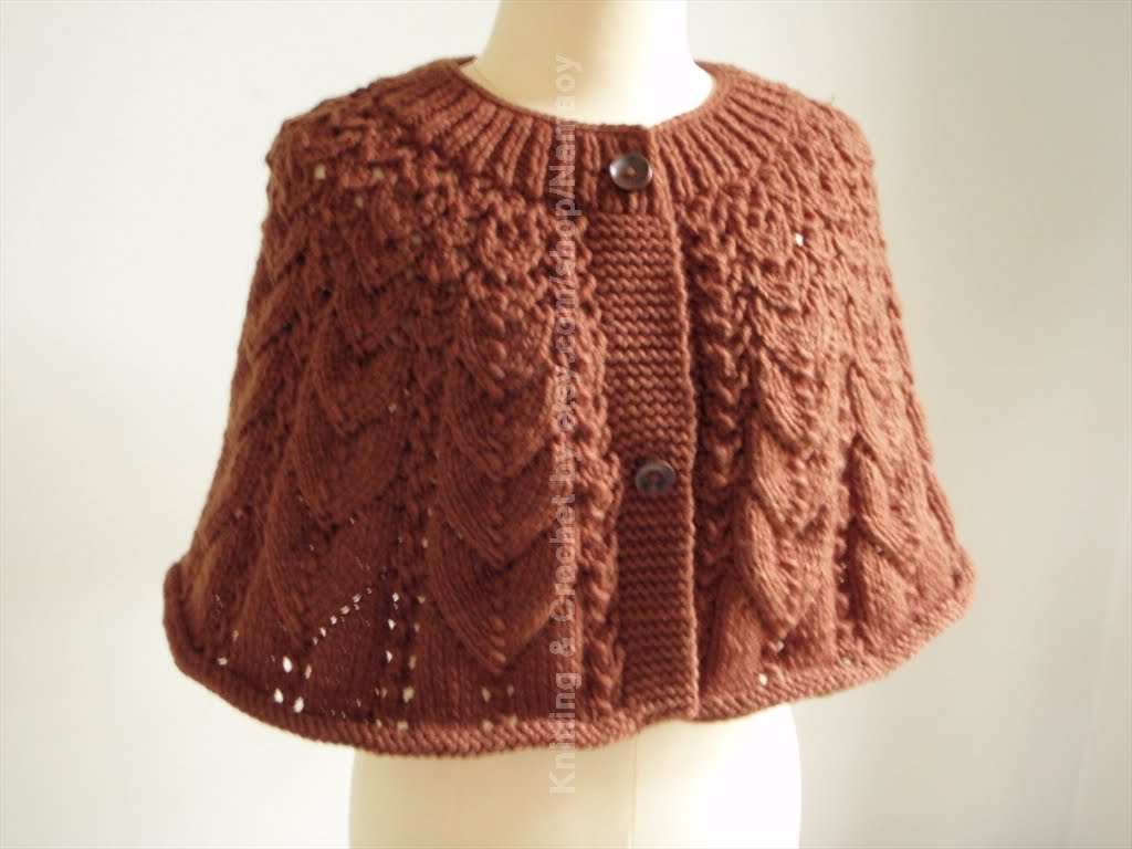 Knitting Patterns For Capes : Myknittingdaily: Knitting Cape Dark Brown Casual Style