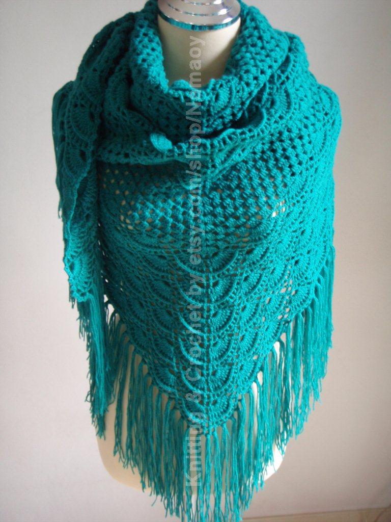 Myknittingdaily: Crochet Shawl Emerald green