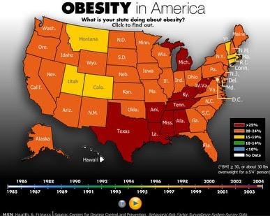 Map 1 Obesity In America