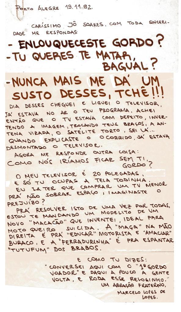 Carta ao Jô Soares em 1992